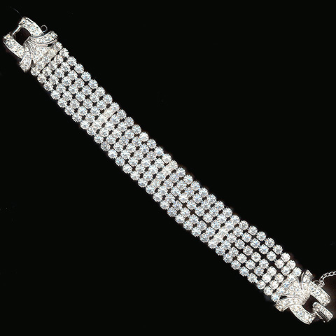 Boucher Five Diamante Strands and Pave Bows Bracelet