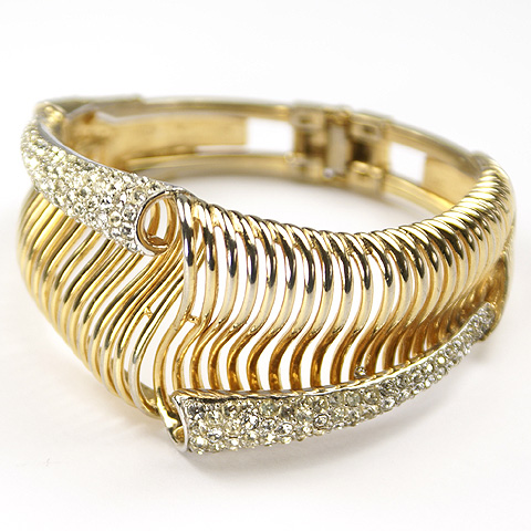 Boucher 'Raymonde Semensohn' Gold and Pave Lattice Shells Bangle Bracelet