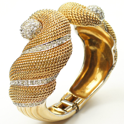 Boucher Braided Gold and Pave Swirls Seashell Sprung Bangle Bracelet
