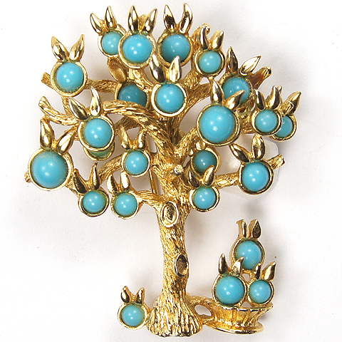 Boucher Gold and Turquoise Fruit Tree and Fruit Basket Pin
