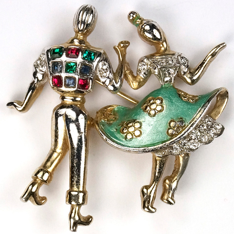 Boucher Jitterbug Jiving Dancing Couple Pin