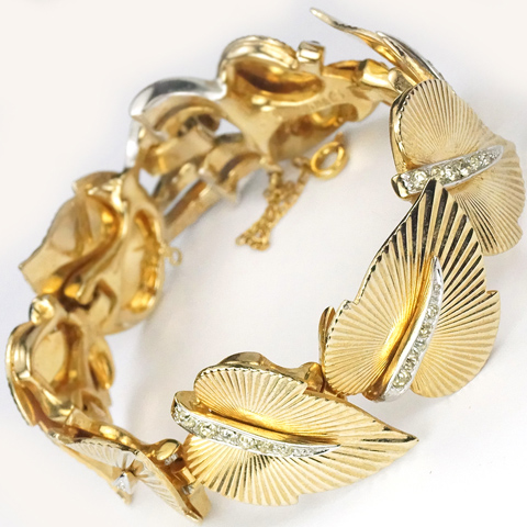 Boucher Gold and Pave Sunburst Leaves Eight Link Bracelet