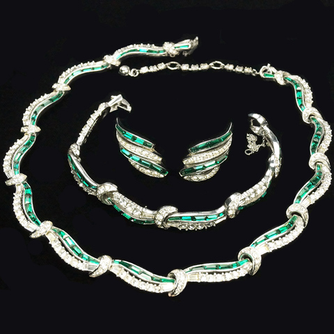 Boucher Pave and Emerald Baguette Swirls Necklace Bracelet and Clip Earrings Set