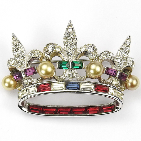 MB Boucher Pave Fleurs de Lys Multicolour Stones and Pearls Coronation Coronet Crown Pin