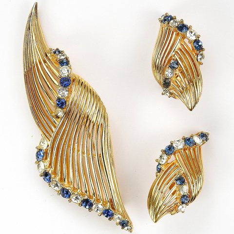 Boucher Gold Openwork Swirls with Sapphire and Diamante Spangles Pin and Clip Earrings Set