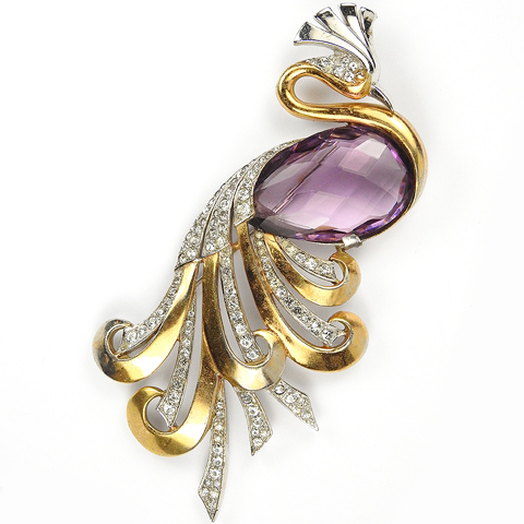 MB Boucher (unsigned) Gold Pave and Faceted Amethyst Giant Bird of Paradise Pin