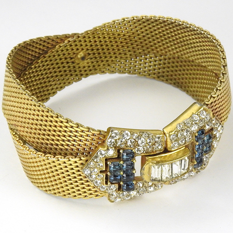 Boucher Crossed Gold Braids with Pave Baguettes and Invisibly Set Sapphire Buckle Bracelet