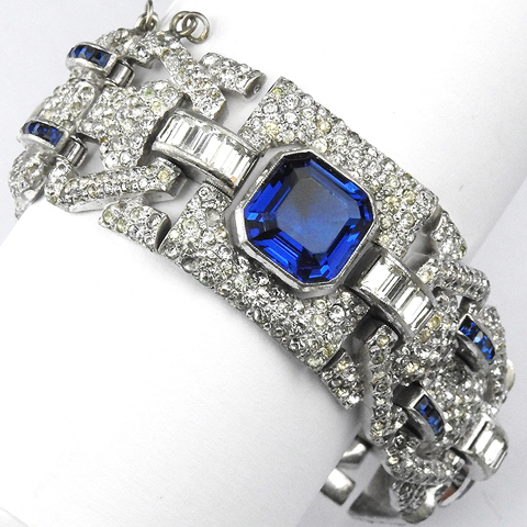 MB Boucher Pave Baguettes and Invisibly Set and Octagon Cut Sapphires Deco Nine Link Bracelet