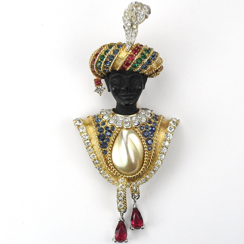Boucher Blackamoor with Turban Inset Pearl and Ruby Pendants Pin Clip
