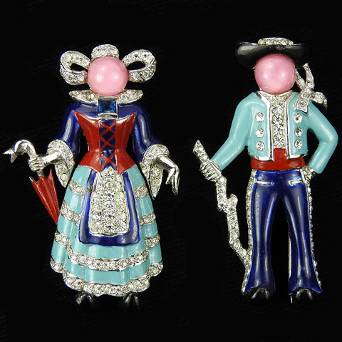 MB Boucher Lady with Umbrella and Gentleman with Stick in Traditional Norwegian Dress Pair of Pin Clips