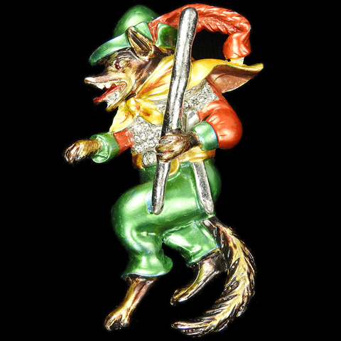 MB Boucher (unsigned) Pave and Metallic Enamel Tiptoeing Big Bad Wolf with Feathered Hat Club and Dagger Pin