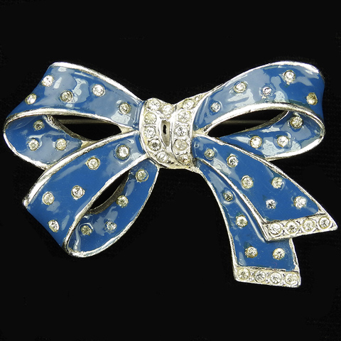 MB Boucher (unsigned) Pave and Blue Enamel Bow Pin