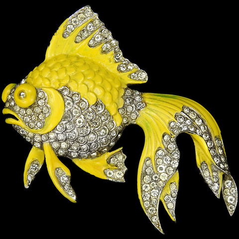 MB Boucher Pave and Yellow Enamel 'Tropical Fish' Telescope Goldfish Pin
