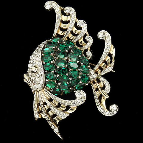 MB Boucher Gold Pave and Emeralds Angelfish Fish Pin