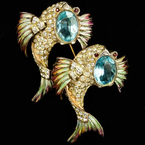 Corocraft Sterling 'Jewelled Dolphins' Leaping Fish Duette