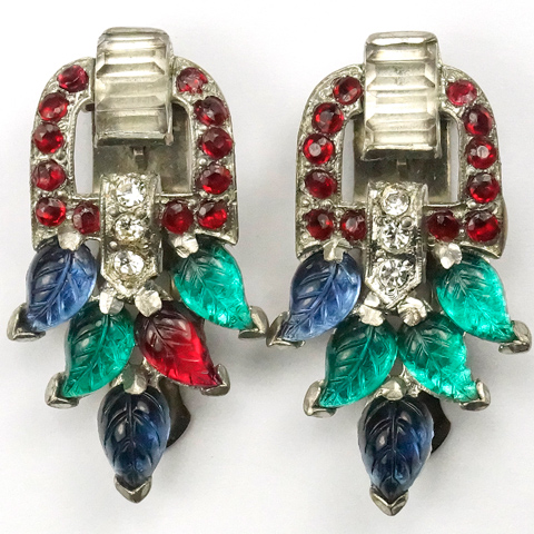 Coro Sapphire Ruby and Emerald Fruit Salad Leaves Pair of Doorknocker Deco Dress Clips