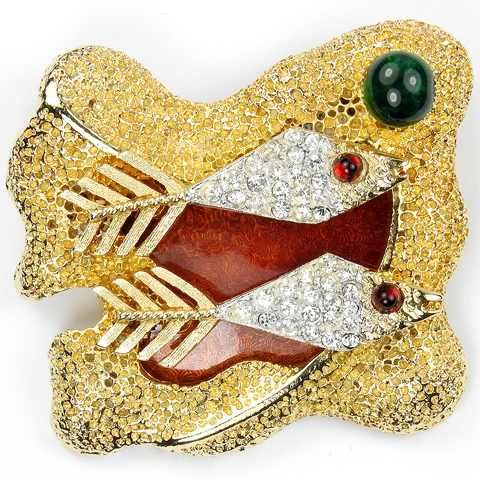 Vendome Georges Braque Gold and Pave Two Fishes Swimming past a Hippopotamus Pin