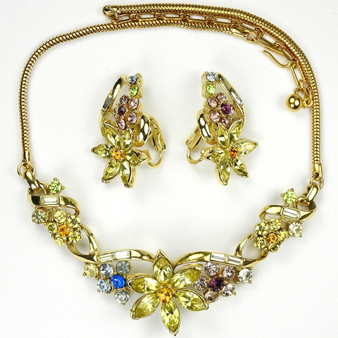 Coro 'Honoré' Citrine and Pastel Stones Star Flower Choker Necklace and Clip Earrings Set