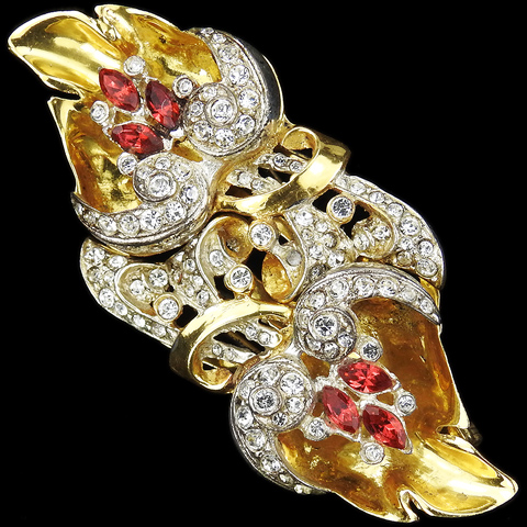 Corocraft Sterling Gold Pave and Rubies Double Flowers Pin Clip Duette