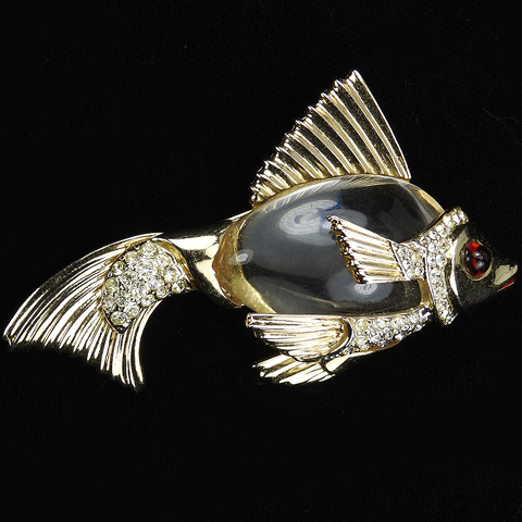 Coro Gold and Pave Jelly Belly Goldfish Fish Pin