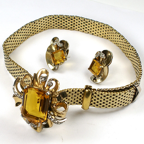 Kreisler Gold and Citrine Swirl Deco Style Golden Bows and Ribbon Choker Necklace and Clip Earrings Set