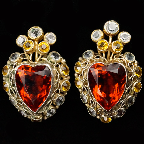 Hobe Sterling Gold Filigree Citrine and Diamante Stones and Topaz Heart Clip Earrings