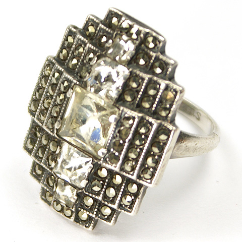 Uncas Mfg Deco Sterling Marcasites and Square Cut Diamante Deco Pattern Finger Ring