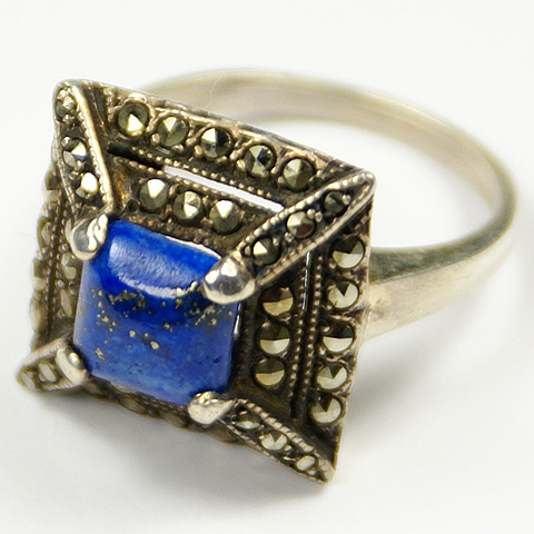 Deco Sterling Marcasites and Lapis Pyramid Finger Ring