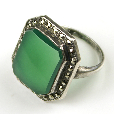 Deco Sterling Marcasites and Chalcedony Finger Ring