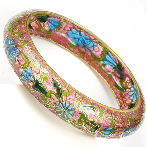 Art Nouveau Plique a Jour Flowers Bangle Bracelet