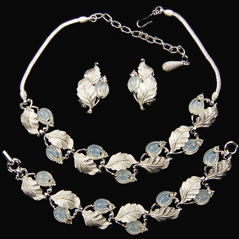 Pennino Silver Leaves and Moonstone Fruit Salads Necklace, Bracelet and Clip Earrings Set