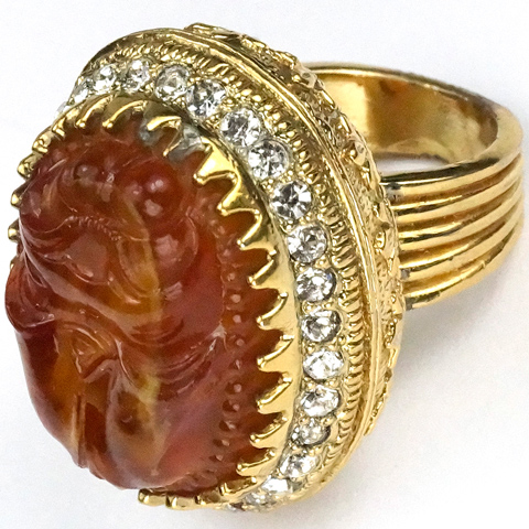 Nettie Rosenstein Gold Pave and Carved Amber Egyptian Scarab Seal Finger Ring