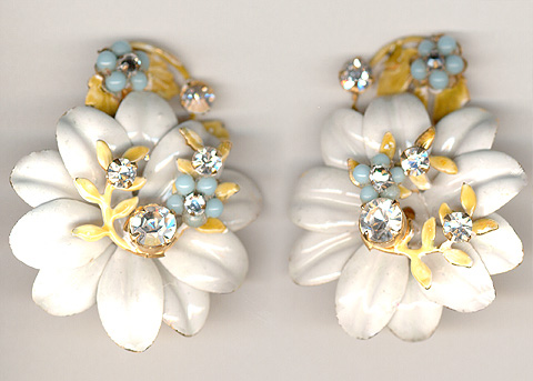 Robert White Enamel and Blue Poured Glass Flower Clip Earrings