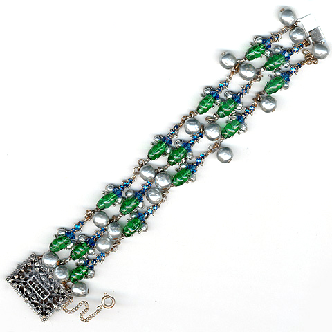 Miriam Haskell Emerald and Sapphire Fruits and Pearls Link Bracelet
