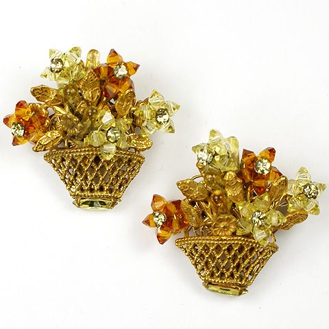 Eugene Citrine and Topaz Golden Flowerbaskets Scatter Pins