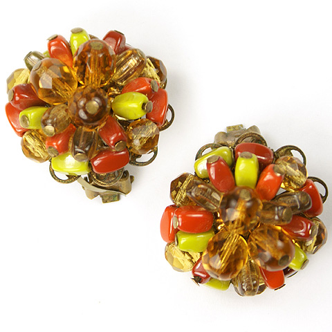 Robert (unsigned) Citrine Amber and Carnelian Floral Button Clip Earrings