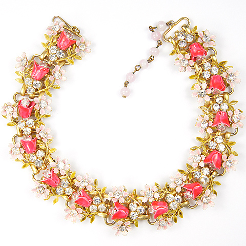 Robert Spangles Pink and Fuchsia Enamel Bell Flowers and Garlands Necklace