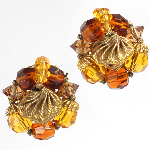 Eugene Citrine Topaz and Gold Nuggets Clip Earrings