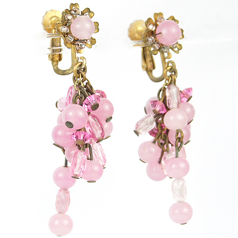 Miriam Haskell Pink Poured Glass Pendant Grapes Clip Earrings