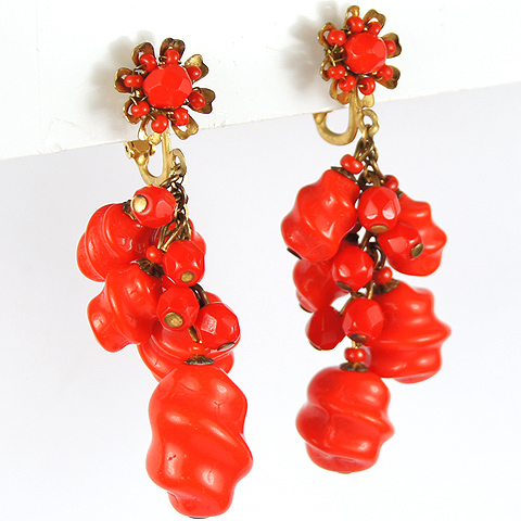 Miriam Haskell Red Coral Poured Glass Nuggets Multiple Pendants Clip Earrings