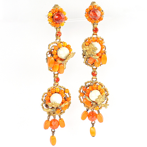 Robert Orange Coral and Pearls Giant Flower Pendant Clip Earrings
