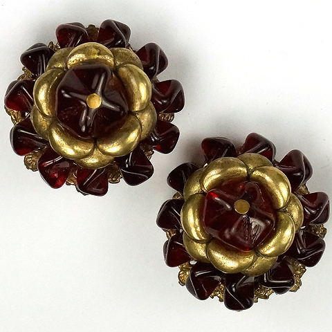 Miriam Haskell Gold and Red Fruitdrop Poured Glass Flower Button Clip Earrings