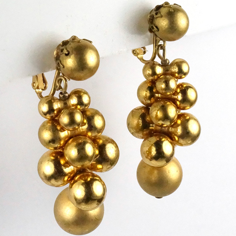 Miriam Haskell Clusters of Golden Globes Pendant Clip Earrings
