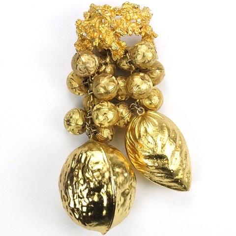 Miriam Haskell (unsigned) Golden Cascade of Pendant Walnut, Almond and Hazelnuts Pin