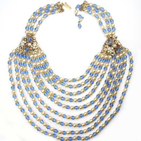 Original by Robert Gold Filigree Sapphires and Pearls Nine Stranded Festoon Necklace
