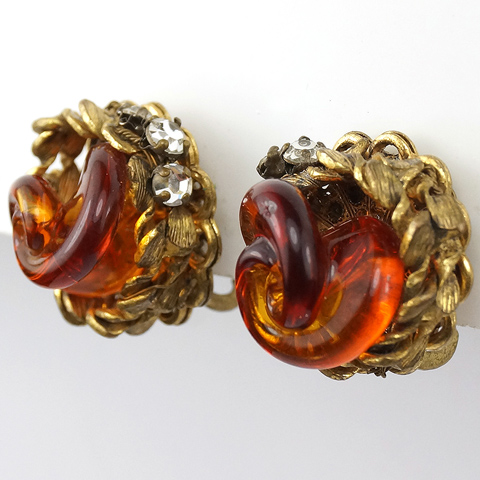 Miriam Haskell Gold Filigree and Poured Glass Amber Swirl Button Clip Earrings