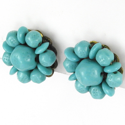 Miriam Haskell Gold and Turquoise Flower Button Clip Earrings