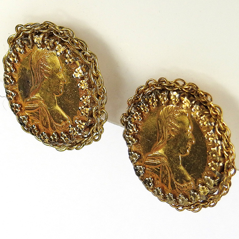 Miriam Haskell Maria Theresia Gold Coins Clip Earrings