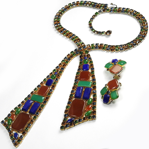 Alice Caviness Gold Lapis Jade and Carnelian Cravat Necklace and Clip Earrings Set
