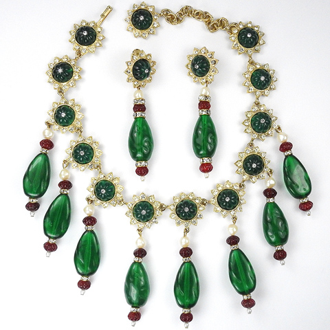 Kenneth Lane Gold Melon Cut Rubies and Emeralds Moghul Style Necklace and Pendant Clip Earrings Set